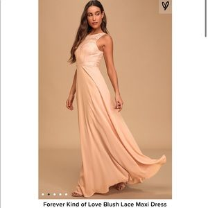 Lulus | Forever Kind of Love Blush Lace Maxi Dress